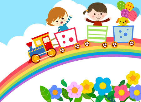Cute train with kids and dog Illustration