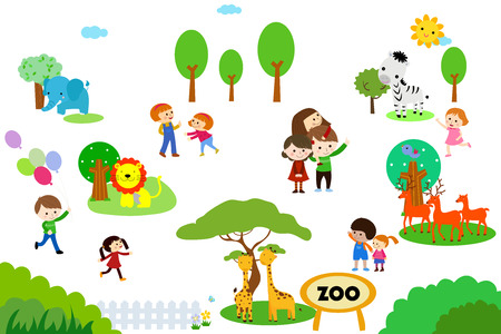 sunday: Group of kids in zoo Illustration