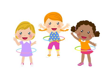 hulahoop: Three cute girls twirling hula hoop Illustration
