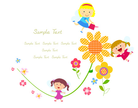 Fairies and flower Vector