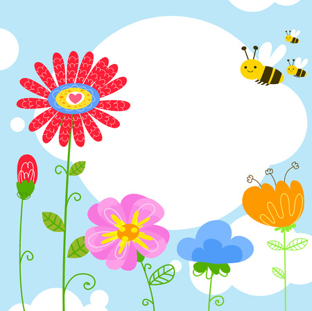 Flowers and bees Vector