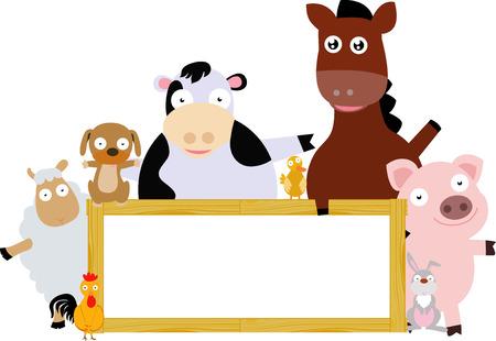 farm animals: Farm animals and banner Illustration
