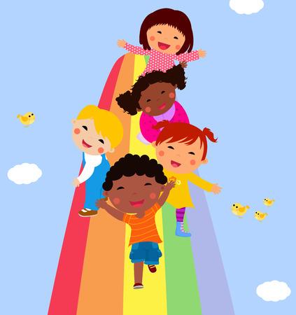 rainbow slide: Group of children and rainbow Illustration