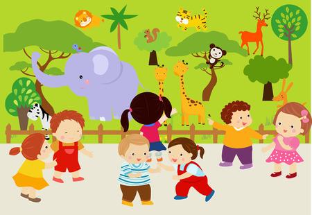 animaux zoo: Les animaux dans le zoo Illustration