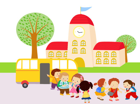 Illustration of Kids Waiting to Get in the Bus Vector