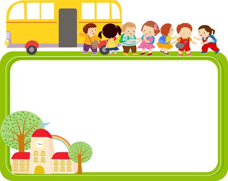 autobus escolar: Niños y marco Vectores