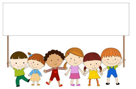 carita feliz caricatura: Los niños con la bandera Vectores