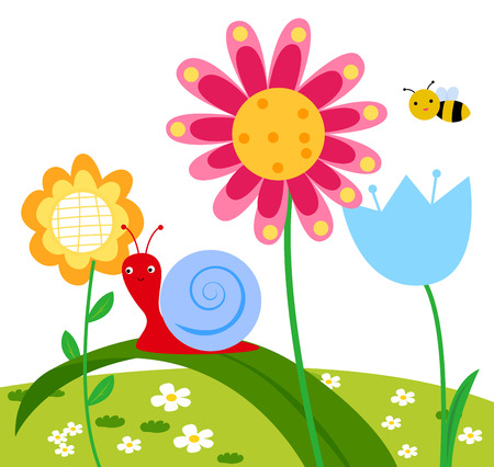 Flowers and insects Vector