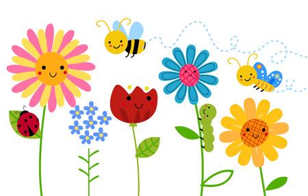 patrones de flores: Las flores y los insectos Vectores