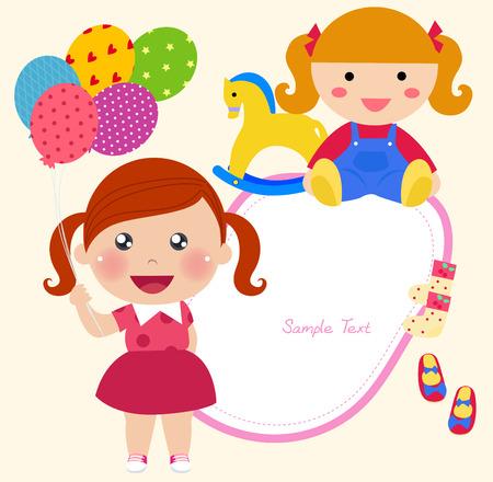 wooden doll: Little girl Illustration
