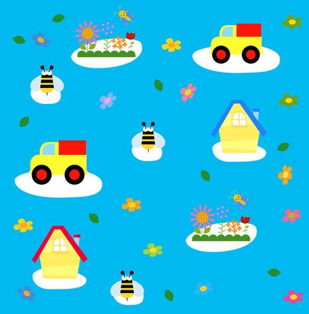 patchwork landscape: Cute cartoon background Illustration