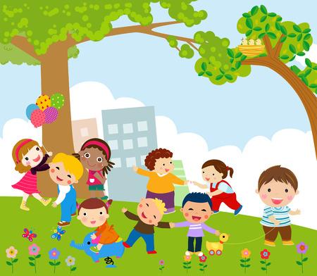Kinderen spelen Stock Illustratie