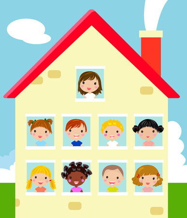Kids and house Vector