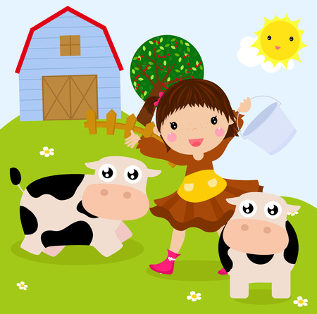 agronomist: An illustration of cute girl and cow at a farm