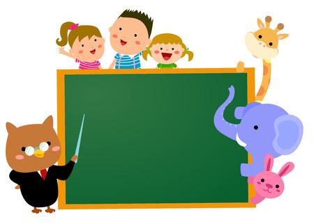 Cartoon kids, animals and blackboard Vector