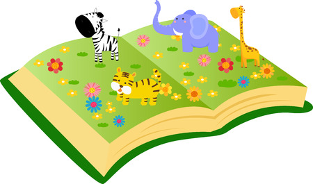 Animals and book Vector