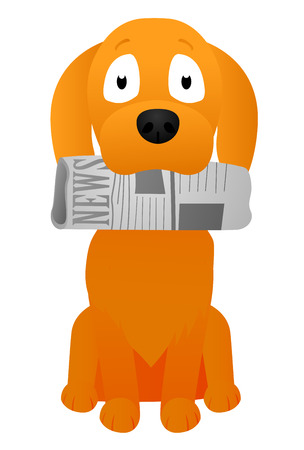brings: puppy brings a newspaper in his mouth Illustration