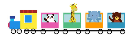 tren caricatura: Animales entrenan Vectores