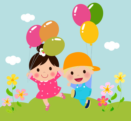 Kids and balloons Vector
