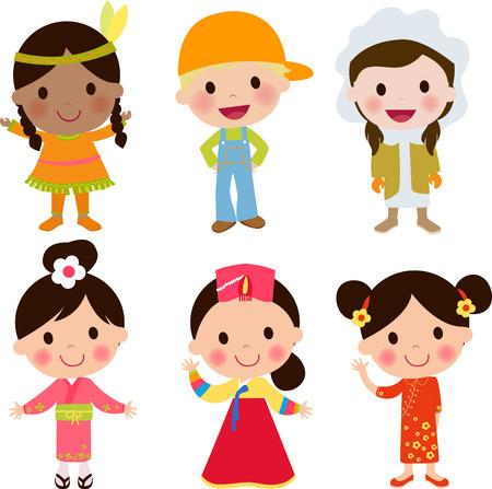 diversidad cultural: Niños del mundo fijaron Vectores