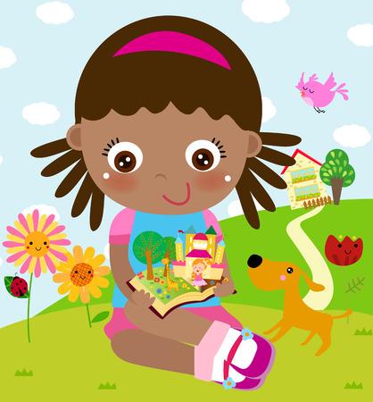 fairytale character: Little girl reading book Illustration