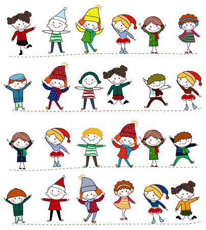 bocetos de personas: Grupo de niños