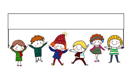familia animada: Grupo de niños que sostienen la bandera