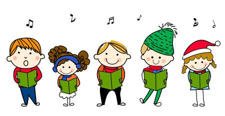 Group of children singing Stock Vector - 30811216