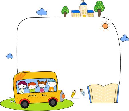 livre �cole: Enfants mignons de bande dessin�e et le cadre d'autobus scolaire
