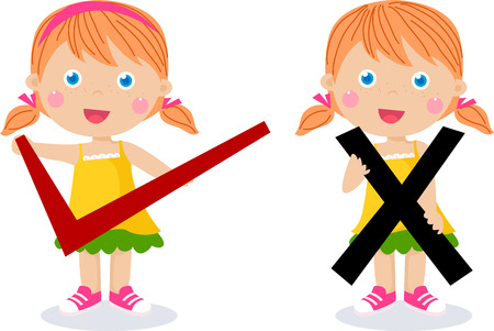 wrong: children with symbols of right and wrong Illustration
