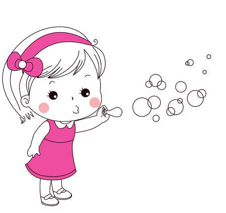 Cute little girl blowing bubbles Illustration
