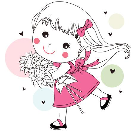 Little girl with sunflower Vector