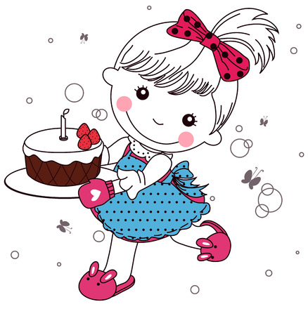Cute little girl with cake Vector