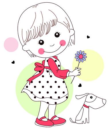 Illustration of cute little girl and flower Illustration