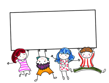 kindergarden: Group of children and banner