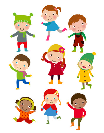 Winter children Vector