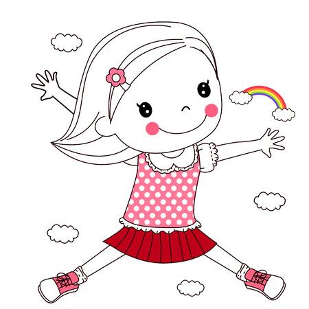 gleeful: Happy child jumping