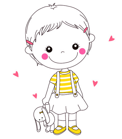 stuffed toy: a Girl and a Stuffed Toy Illustration