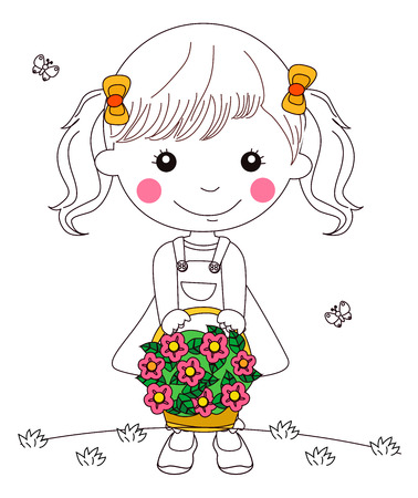 basketful: Illustration of Little Kid Girl with Basketful of Flowers Illustration