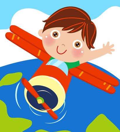 Boy and plane