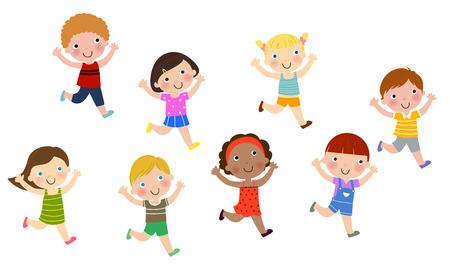 children running: Group of children running
