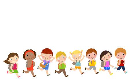 niño con mochila: Cabritos de la escuela corriendo felizmente