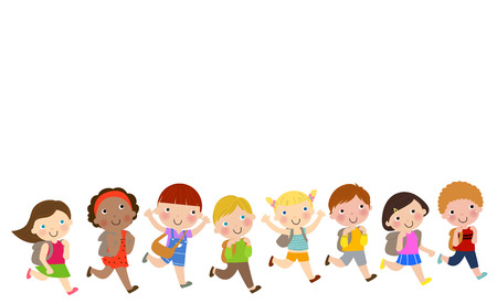 backpack school: School kids running happily Illustration