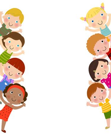 planche: Enfants et fond blanc