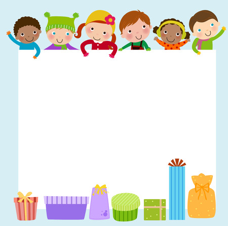 new years day: Kids and gift boxes frame Illustration