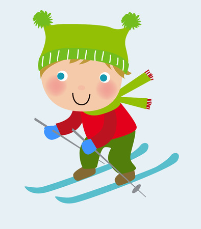 Happy kid skiing on a slope Vector