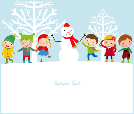happy kids and snowman Vector