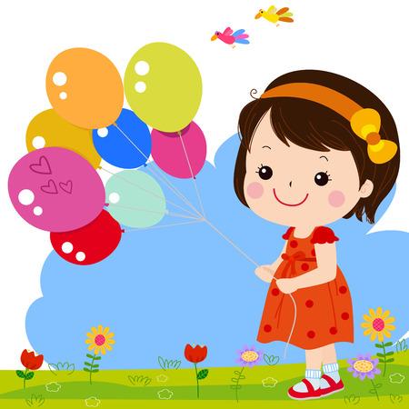 girl holding flower: Little girl with balloons
