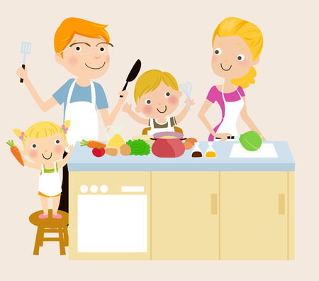 preparing food: Family cooking