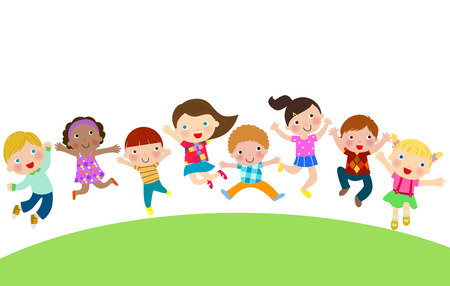 group jumping: Group of Children Jumping Illustration